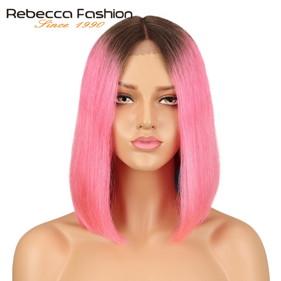 Rebecca Short Bob Lace Front Human Hair Wigs For Black Women Silky Straight Middle Part Lace Peruvian Remy Hair Ombre #Pink 158g