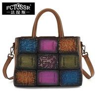 2016 Genuine Leather Vintage Women Handbag Handmade Cow Leather Top Handle Bag Shoulder Messenger Bag