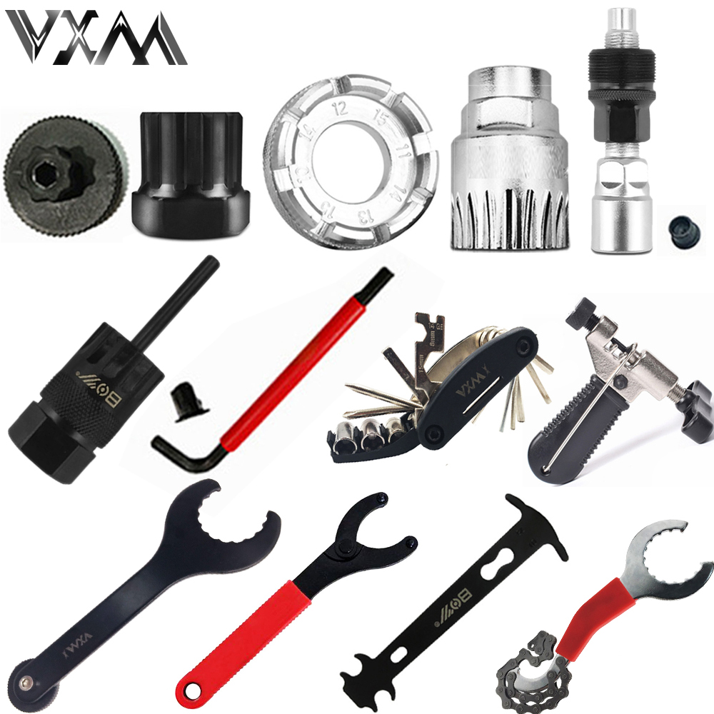 VXM Bicycle Repair Tool Kits Flywheel Remover Socket Bottom Bracket Removing Socket Tool Chain Cutter Crank Removing Tools