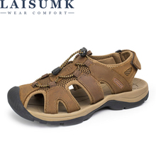 LAISUMK New Roman Men Sandals Genuine Cow Leather Summer Hollow Breathable Casual Outdoors Beach Shoes Large Size 37-47
