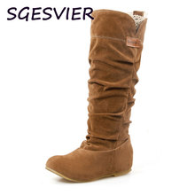 2016 Big Size Spring Autumn hidden wedge Flock boots Fashion Flat Mid calf women boots casual