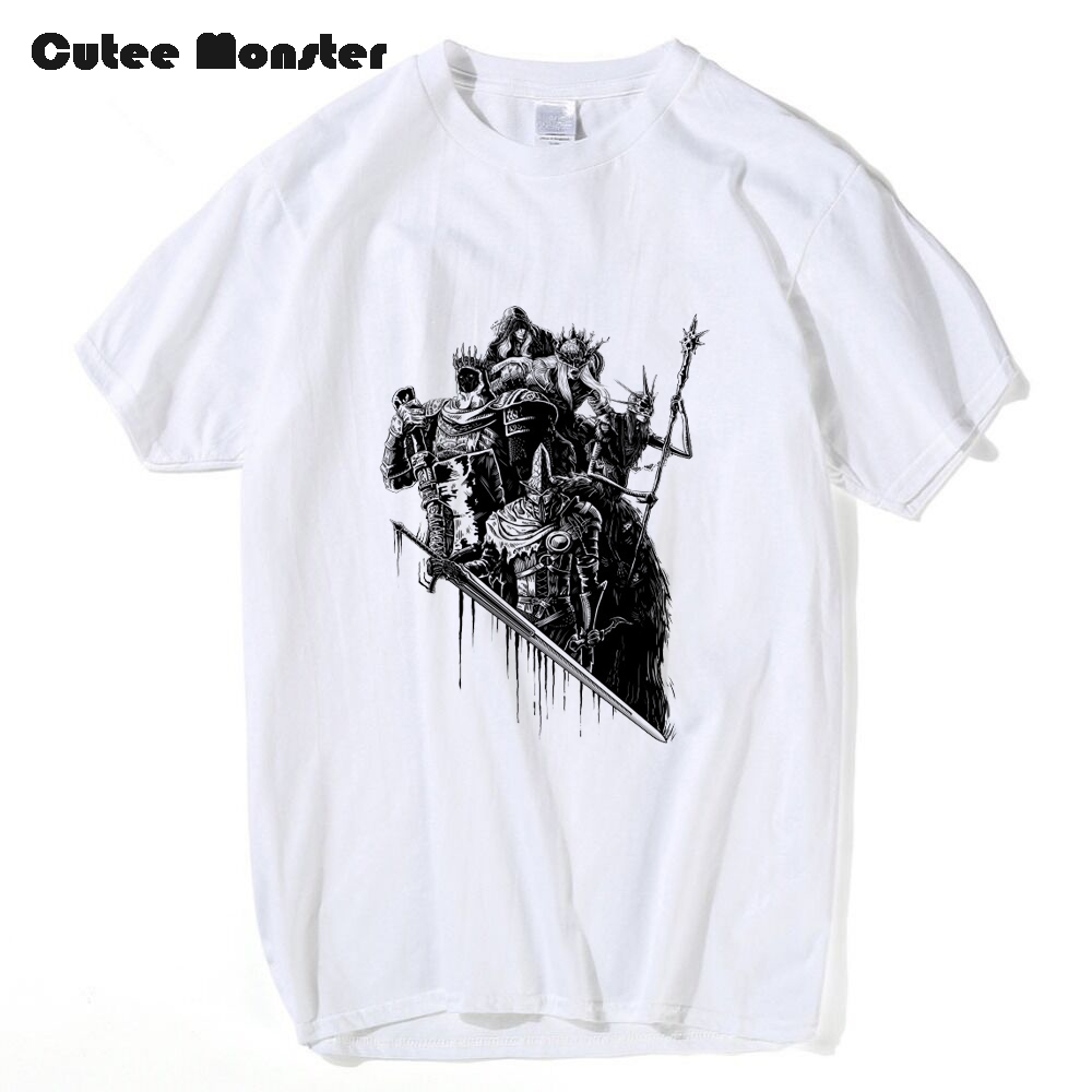 Demons Souls Dark Souls Brofist T shirt Men Skull Warrior Print T-Shirt Lords of Cinder Lords of Ash Dark Souls Tops Tees
