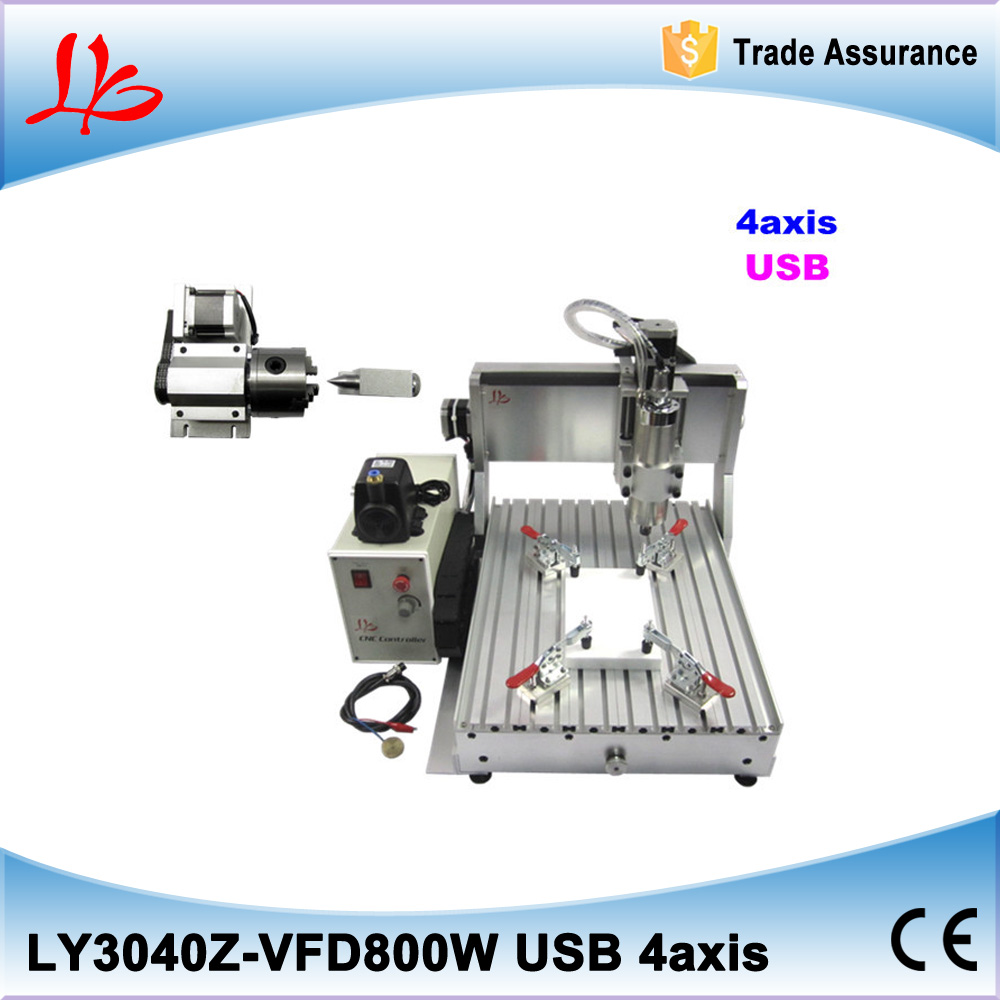 USB 4 axis CNC ROUTER 3040 800w spindle FOR 3D Woodworking metal engraving machine ly cnc router 6090 l 1 5kw 4 axis linear guide rail cnc engraving machine for woodworking