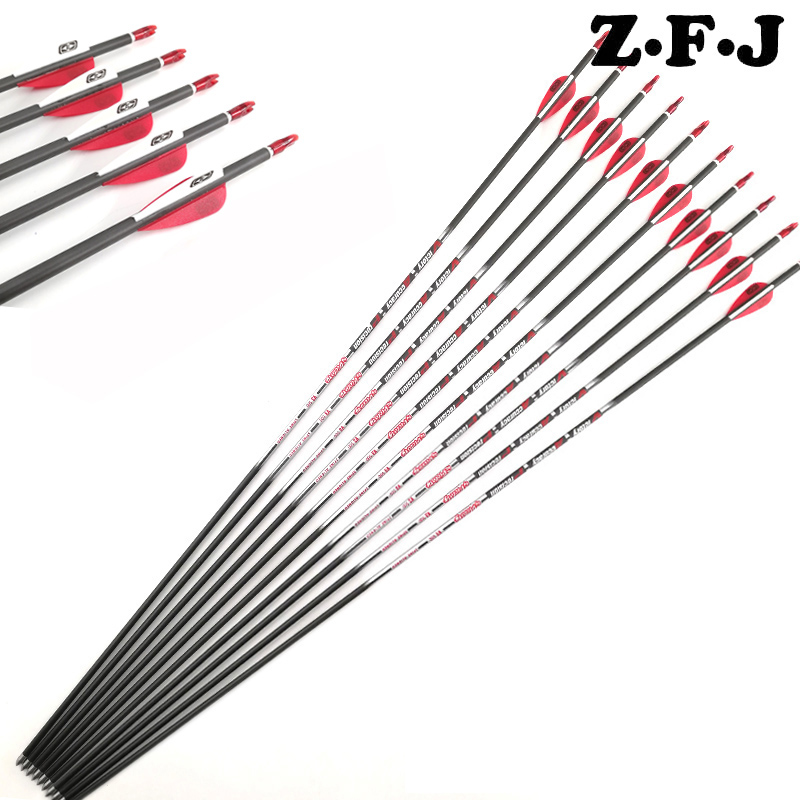 12pcs V6 Spine 350 400 700 800 900 Pure Carbon Arrows 30 Shaft ID 4 2mm