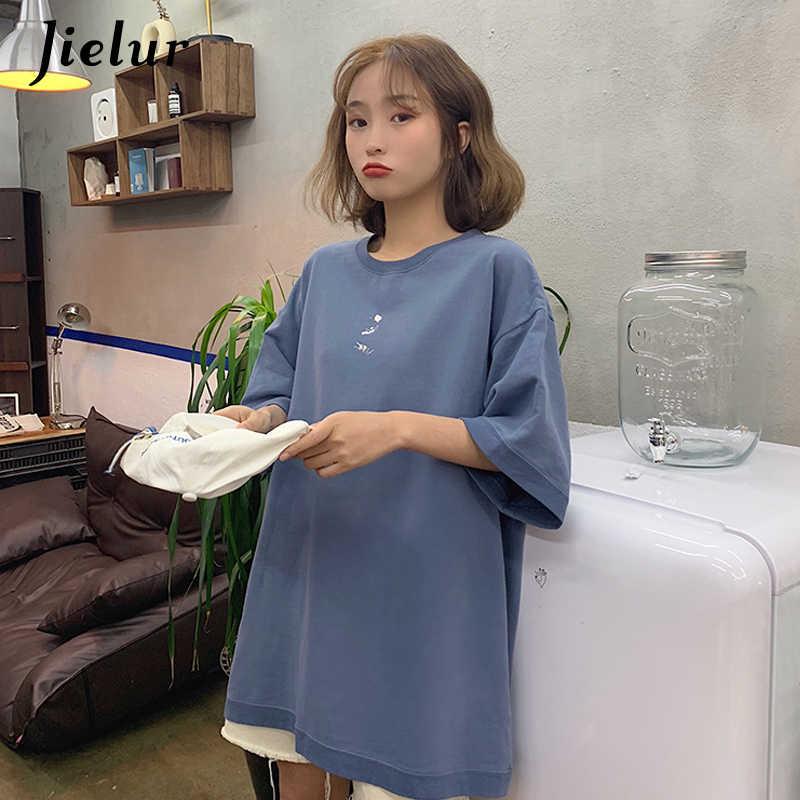 Jielur женская футболка топ летние свободные печатных свежий корейский мода футболка с коротким рукавом Для женщин M-XL досуг черный длинный Топ женский