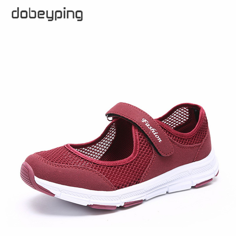 dobeyping 2018 New Summer Women Shoes Breathable Air Mesh Woman Flats Shoe Soft Bottom Mother Sneakers Hook&Loop Female Loafers instantarts 2018 new fashion women casual flats anatomical hearts pattern air mesh sneakers breathable female flat shoes woman