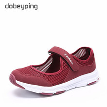 dobeyping 2018 New Summer Women Shoes Breathable Air Mesh Woman Flats Shoe Soft Bottom Mother Sneakers Hook&Loop Female Loafers