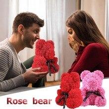 25cm Rose Bear Doll Valentines Romantic Gift box Artificial Rose Decorations Teddi Bear Rose Flower Cartoon Kids Birthday Gift