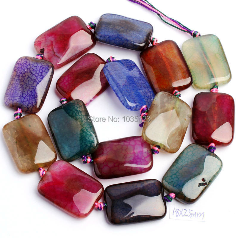 Free Shipping 18x25mm Faceted Cracked Multicolor Agates Rectangle Shape Loose Beads Strand15 Jewellery Making w18