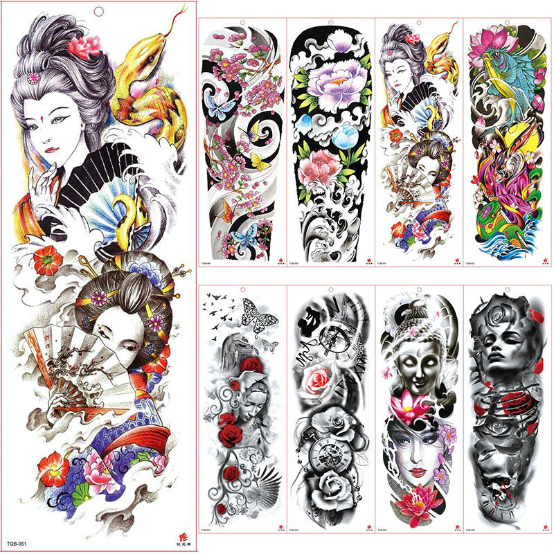 Large Arm Sleeve Tattoo Waterproof Temporary Tattoo Sticker Japanese Kabuki Men Full Flower Tatoo Body Art Tattoo Girl
