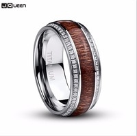 Crystal Zircon Stainless Steel Ring For Men Acacia Wood Titanium Steel Knuckle Ring For Men Wedding Rings Jewelry