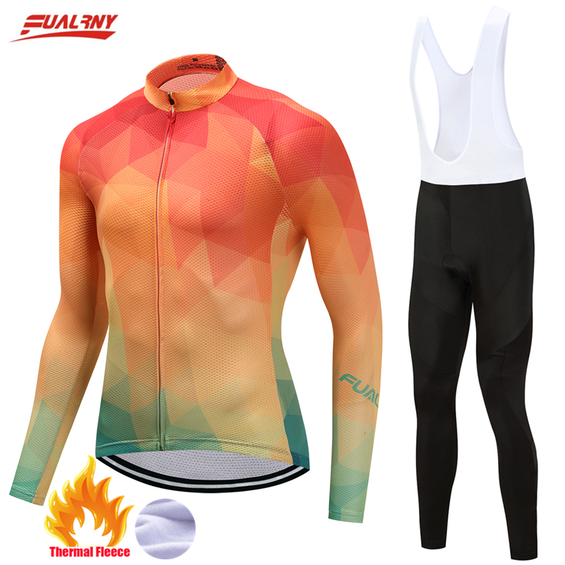 Fualrny 2017 Cycling Jersey Set Keep Warm Long Sleeve Ropa Ciclismo Invierno Bicycle Wear Winter Thermal Fleece Bike Clothing 2017 hot winter thermal fleece man cycling jersey ciclismo ropa bicycle bike long sleeve sportswear cycling clothing