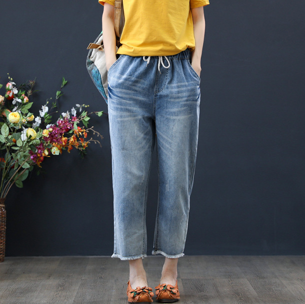 Plus Size Summer Autumn Vintage Style High Waist Jeans Lady Casual Straight Denim Light Blue Jeans Womens Mom Jeans Womans(China)