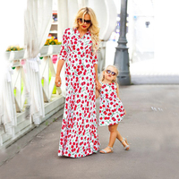 Mother Daughter Summer Dress 2017 Mother And Daughter Matching Clothes Cherry Fruit Print Mommy And Me
