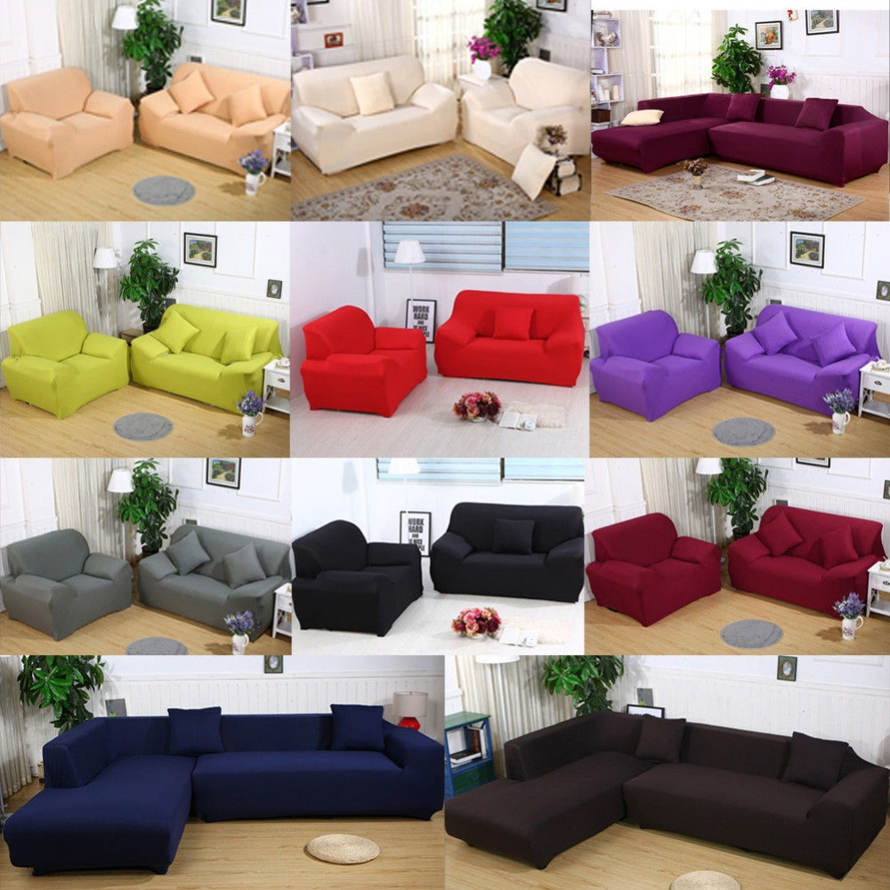 New Slipcover Stretch Sofa Cover Sofa With Loveseat Chair: Solid Color Sofa Cover Stretch Fabric Sofa Slipcover