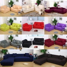 Solid Color Sofa Cover Stretch Fabric Sofa Slipcover Elastic Sectional Furniture Cover Protector Couch for 1/2/3/4-seater