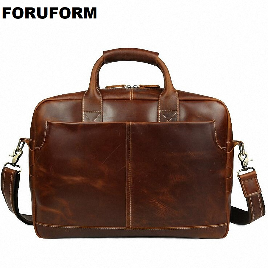 New Business Bag 15.6 Inch Laptop Briefcase Men's Handbags Oil Genuine Leather Briefcase Shoulder Bag Men Messenger Bags LI-1329