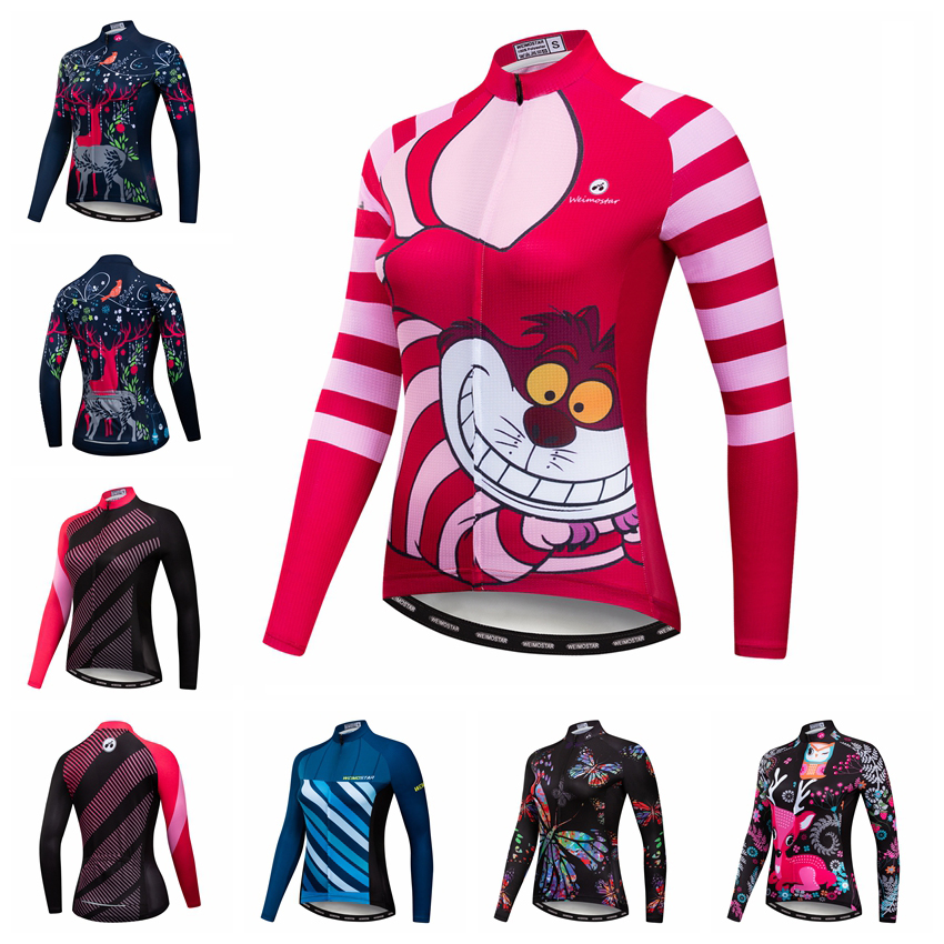 Cycling Jersey Women Long Sleeve Cycling Clothing 2019 mtb Road Bike Clothes Triathlon Maillot Ciclismo Bicycle Shirt Top Cat