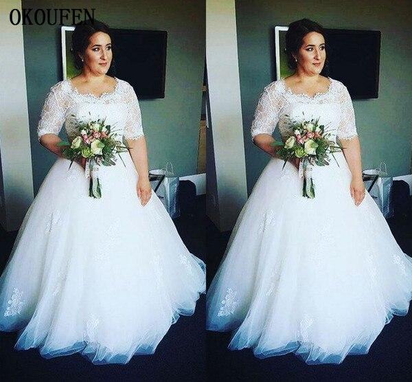 Vintage Plus Size Lace Wedding Dresses 2019 Lace Half Sleeves Square Tulle Retro Bride Vestido De Novia Robe Mariage Bridal Gown