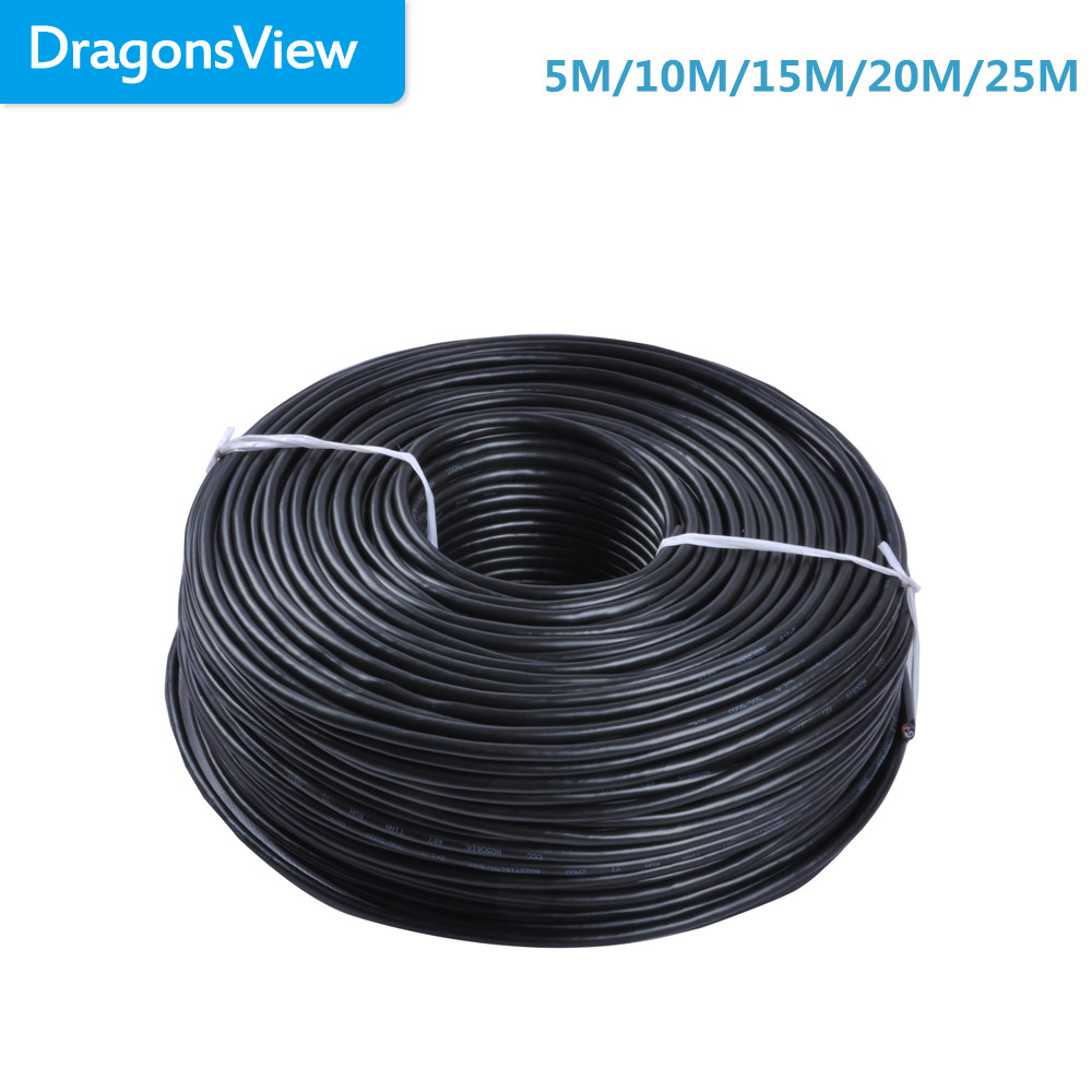 Dragonsview 4 Core 24AWG 5M/10M/15M/20M/25M Extension Cable Copper Conductor Braided RVV Wire Cable For Video Intercom System