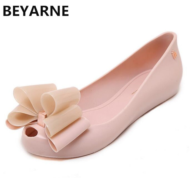 aa2f8cbde0 US $18.18 13% OFF|BEYARNE new design women big bowtie jelly shoes fish  mouth lady summer flats rain sandals women student summer beach sandal  40-in ...
