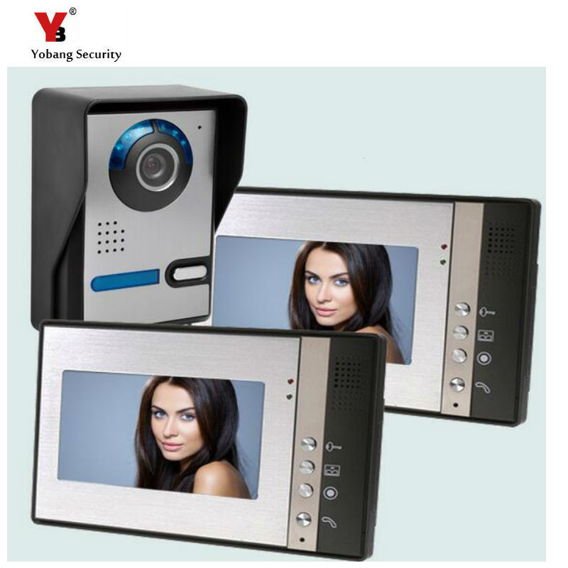 Yobang Security 7  Color Screen Video Door Phone Intercom System + 1 Waterproof Door Camera + 2 Monitor Free Shipping freeship 10 door intercom security system hands free monitor color tft lcd screen intercom system video door phone for villa