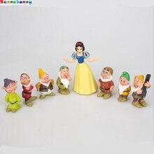 8 pçs/set Princesa Branca de Neve e os Sete Anões Figura Brinquedo 5 9 CENTÍMETROS Mini Modelo da casa de Boneca para As Crianças