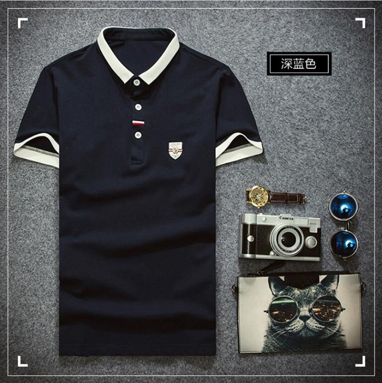 2019 New Arrival PL25452 Cotton Men   Polos   Shirt Tops Fashion Brand Plus Size Short Sleeve White   Polo   Shirt Homme Camisa