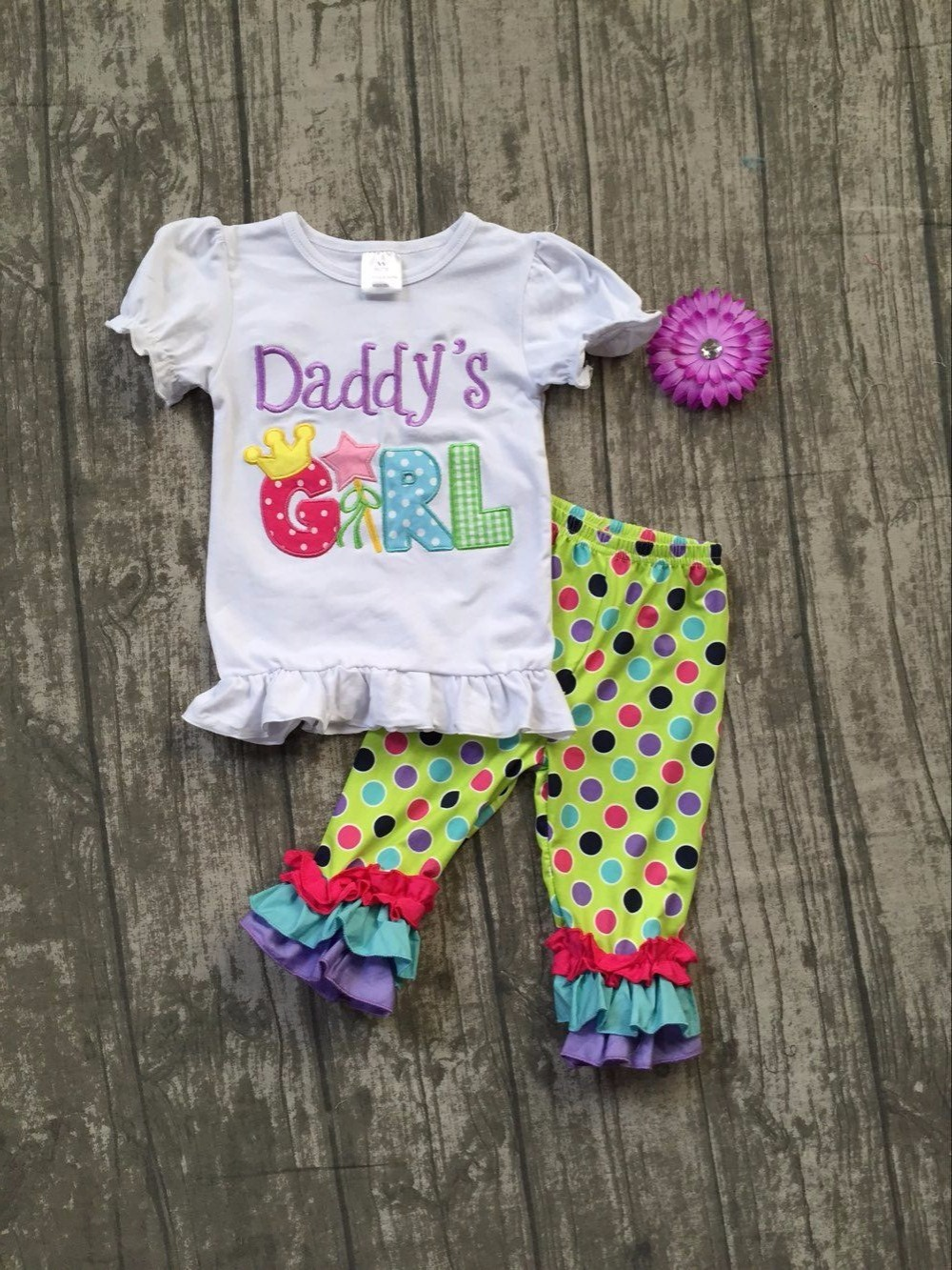2018 back to school Super cute Daddy's girl short sleeves baby girls Summer boutique clothing capri set with matching bow блокнот в клетку с вашим текстом back to school