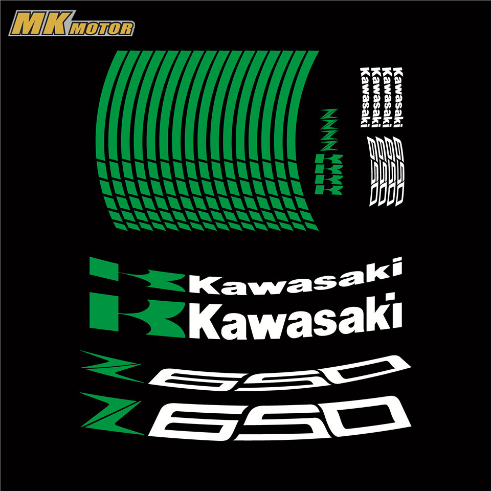 Motorcycle Z650 rim decals CUSTOM INNER RIM DECALS WHEEL Reflective STICKERS STRIPES FIT KAWASAKI Z 650 Z 900 Z 1000
