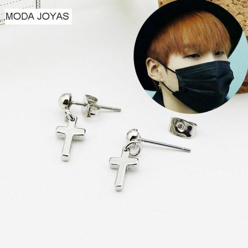 2pcs/lot Korea POP BTS Bangtan Boys Bulletproof Boy Scouts Unisex Six awn star Cross Earrings For Women Men Jewelry Brinco