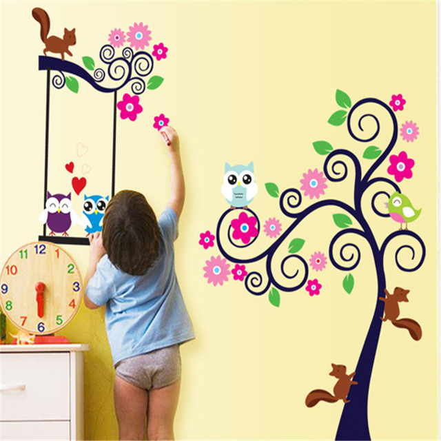 Owl Tree Wall Stickers Childrens Room Decor Owl And Squirrel