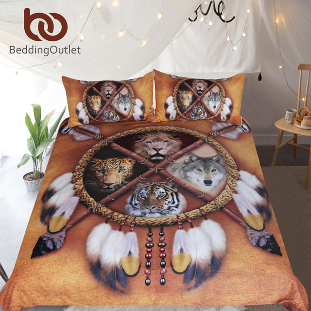 Beddingoutlet Wolf Dreamcatcher Bedding Set Native American Duvet Cover Animal Tribal Bedspreads Lion Tiger Leopard