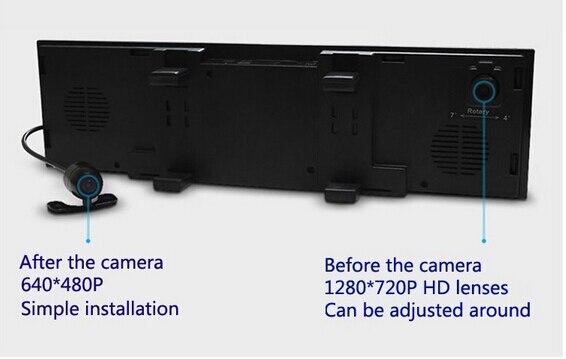Double caméra de tableau de bord 4.3 caméra de bord double dvr rétroviseur automatique DVR lecteur enregistreur + bluetooth téléphone mains libres + voiture dvr avec deux caméras