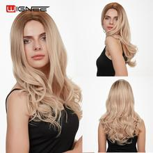 Wignee High Density Synthetic Wigs For Black/White Women Long Wave Hair Ombre Blonde Heat Resistant Natural Wavy Daily/Party Wig wignee hand made front ombre color long blonde synthetic wigs for black white women heat resistant middle part cosplay hair wig