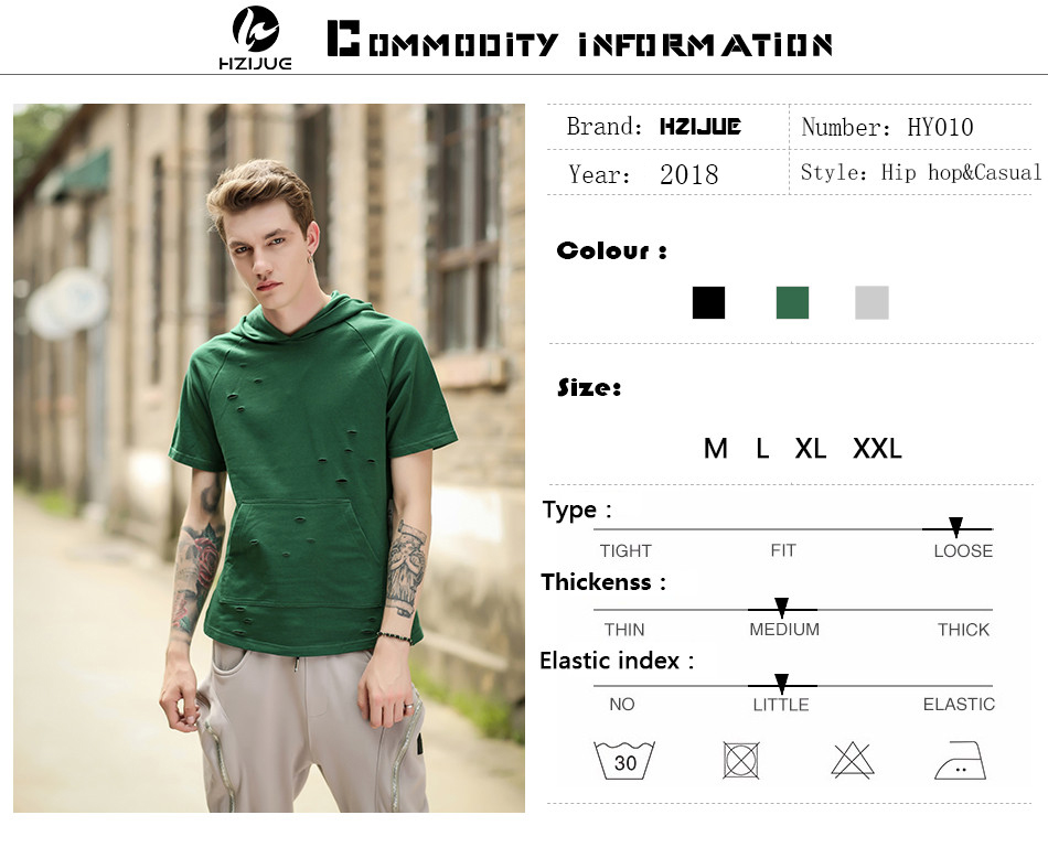 5aaee9ec05cc HZIJUE Men Tshirt Summer 2018 Men Ripped Hole Loose Casual Tops Fashion  Summer T-shirt Streetwear Hooded Tshirt