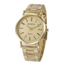 New Luxury Women Stainless Steel Sport Quartz Hour Wrist Analog Watch Digital Numerals Watches Round Golden Limited Gift
