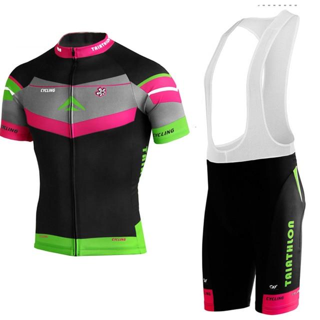 Black jersey set Mountain Bike wear MTB men short sleeve Cycling jersey set  ropa Ciclismo New Outdoor sports bib shorts clothes 54bd321f5
