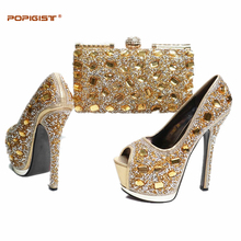 New Arrival Multi Color African Wedding Shoe and Bag Sets Women Shoe and Bag Set Decorated with Rhinestone Nigerian Women Shoe