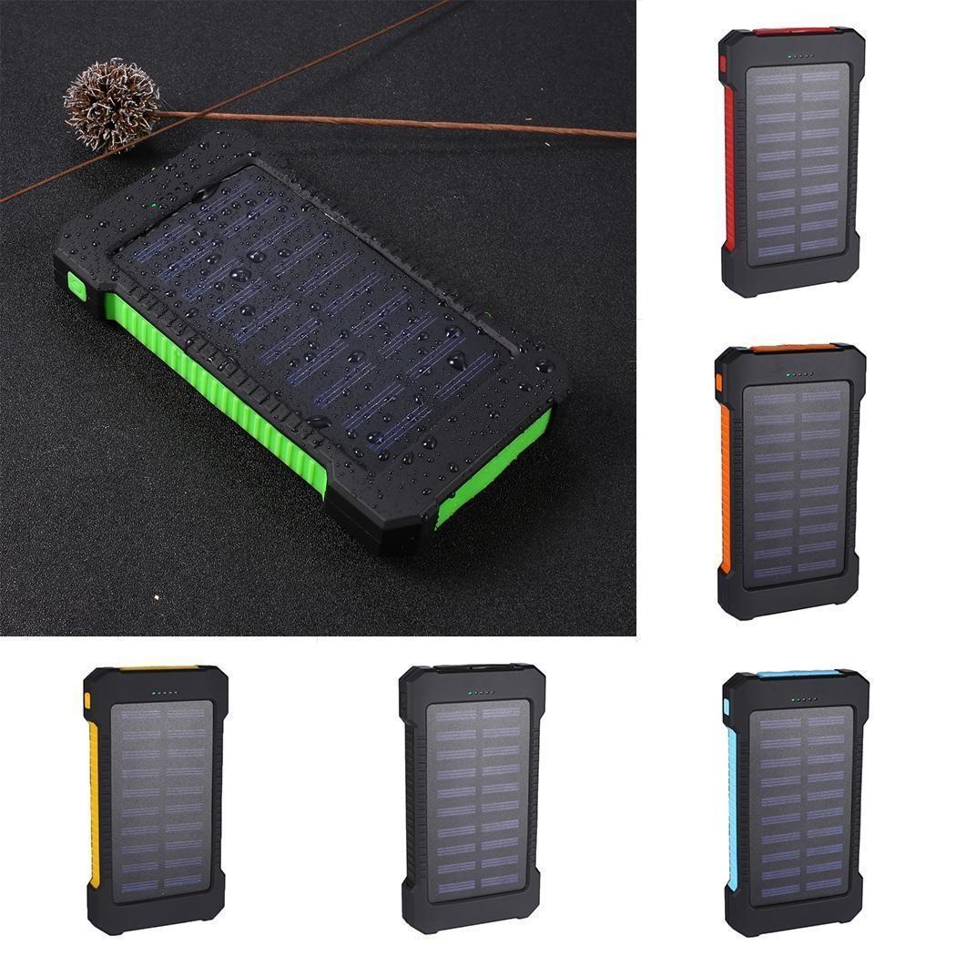 30000mAh Outdoor Solar Portable 2 USB Power Bank Powerbank Hanger Compass DustStop External Battery For Xiaomi MI IPhone Samsung