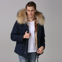 Navy Cotton Warm Shell Mens Short Casual Winter Outerwear Faux Fur Lined Discount Shelling