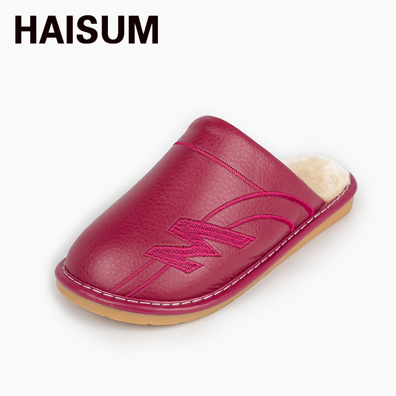 Ladies winter PU leather  slippers warm plush waterproof indoor ladies slippers 8007 soft plush big feet pattern winter slippers