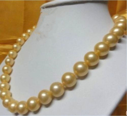 natural AAA 11-12 mm South Sea golden Pearl Earrings 14K YELLOW GOLD