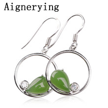 vintage 925 silver Natural Green Jade Earrings With Gift Box Certificate Jewelry Dangle for Women Girl Jewellery