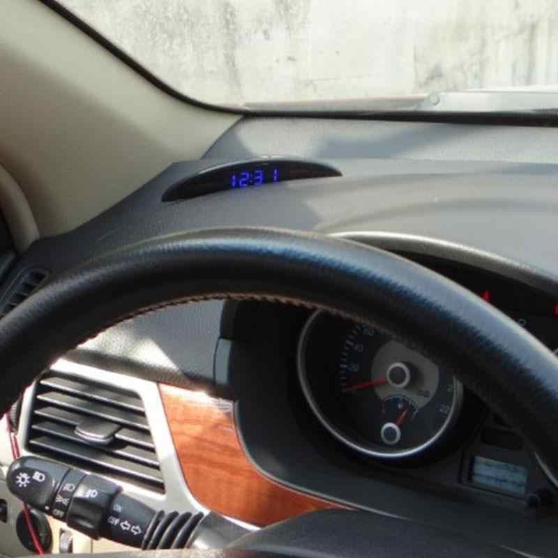 Voltímetro del termómetro del reloj Digital LED luminoso del coche para el maletero del vehículo Pantalla de tiempo de 12 V con función de memoria