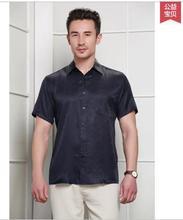 Business casual men's spring/summer blockbuster 100% mulberry silk short sleeve shirt