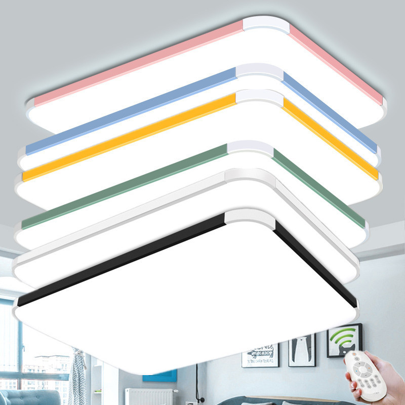 Modern remote control chandeliers Ceiling Lamp Living room Bedroom multi color chandelier Black Blue Yellow Pink Chandelier Lamp