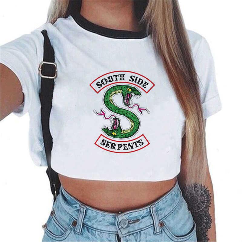 Harajuku Shirt Snake Print Riverdale T Shirt Crop Top Women South Side Serpents Tee Shirt Femme Vintage Pulp Fiction Haut Femme