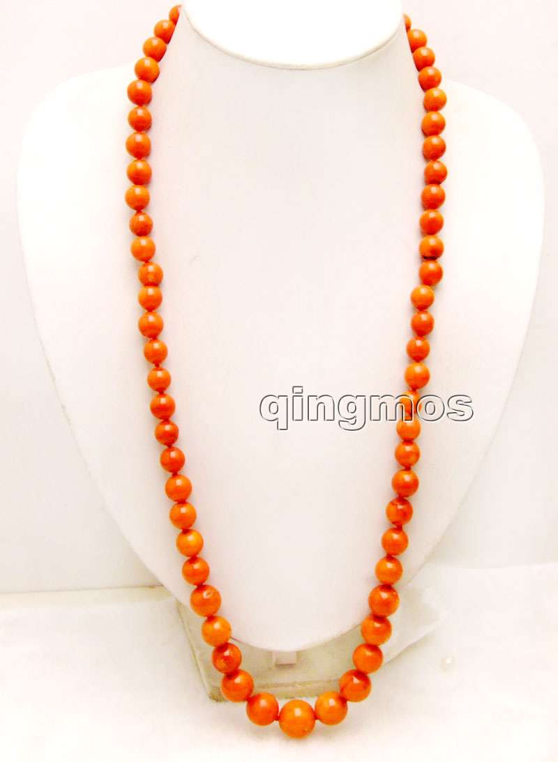 Big 10-16mm Natural Orange Round high quality Coral 30'' Necklace-nec6158 Wholesale/retail Free shipping sale super long 34 huge 9 15mm graduate high quality round orange nature coral necklace nec5365 wholesale retail free ship