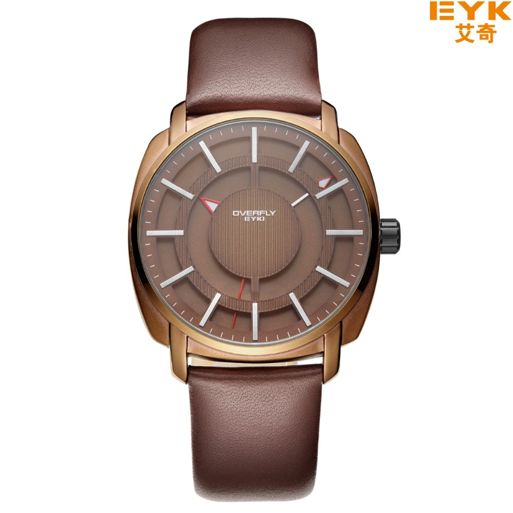 Top Brand Luxury Quartz watch EYKI Famous Brand Quartz Mens Watches Clock Leather Strap Male Wristwatch